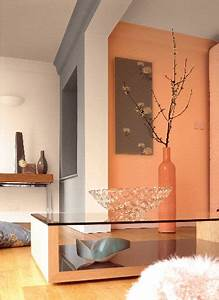 Photo Peinture Salon : peinture astral dans salon moderne couleur orange et gris ~ Melissatoandfro.com Idées de Décoration