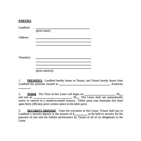 sample simple lease agreement template   documents