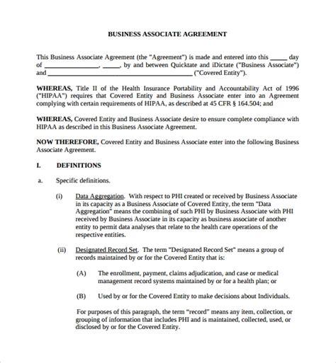 business associates agreements sample templates