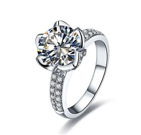 new design lotus flower wedding diamond ring bridal engagement jewelry band ring