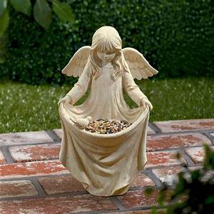 Bird Dog Design Resin Angel Figure Statue Bird Feeder