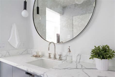 gray convex bathroom mirror cottage bathroom