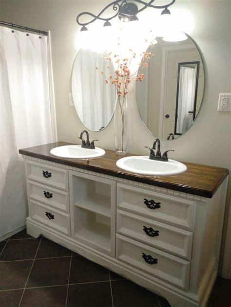 diy dresser turned  double sink vanity bathrooms