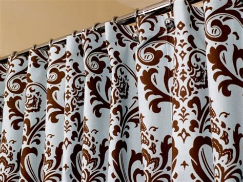 blue brown shower curtain in damask pattern sized