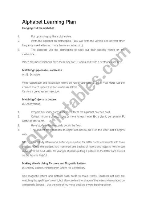alphabet lesson plan esl worksheet by gracezhang