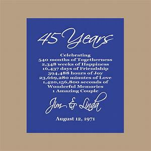 45th anniversary print sapphire anniversary parents With 45th wedding anniversary gift ideas for parents