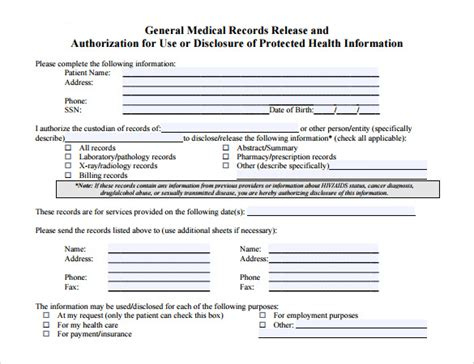 general medical release form template 11 medical records release forms sles exles