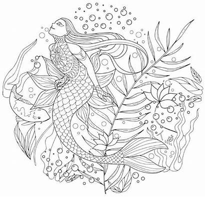 Coloring Pages Japanese Creatures Books Mermaid Adults