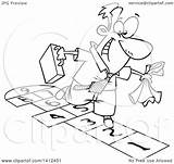 Hopscotch Playing Clipart Cartoon Lineart Businessman Illustration Royalty Vector Leishman Ron Toonaday sketch template