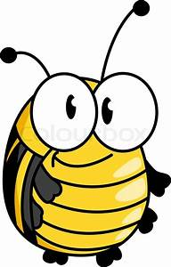 Happy smiling fat little yellow bumble bee with large ...