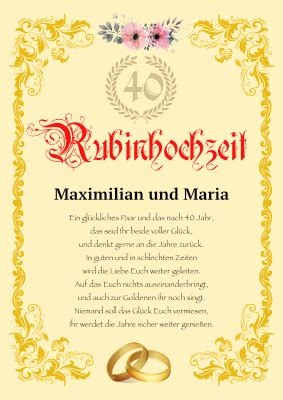 Hochzeitstag und ein markantes jubiläum zwischen der. 40 Hochzeitstag Sprüche Zur Rubinhochzeit Zum Ausdrucken - 40 Hochzeitstag Rubin Hochzeit ...
