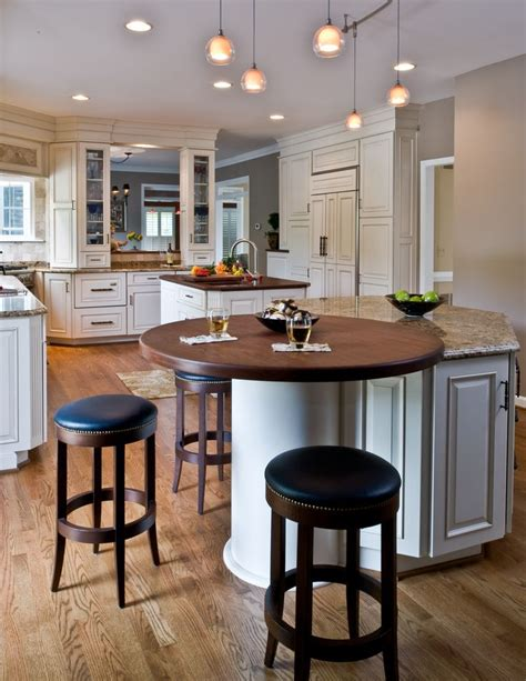 Kitchen Bar Island Ideas - traditional kitchen round wood top on island end tall glass double sided cabinetry through bar
