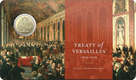 centenary   treaty  versailles   uncirculated coin packaging front numismag