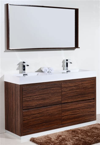 bliss  floor moun double sink walnut modern bathroom vanity