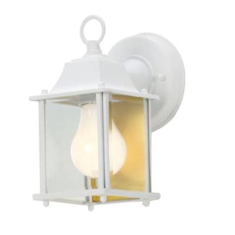 hton bay 1 light white outdoor wall lantern bpm1691 wht
