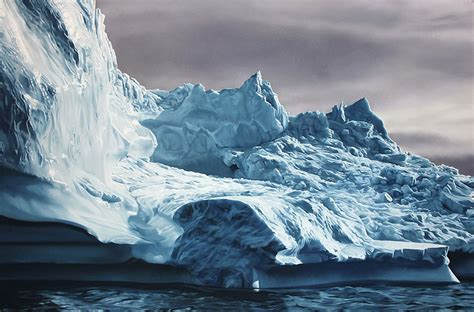 hyper realistic pastel drawings  greenlands icebergs