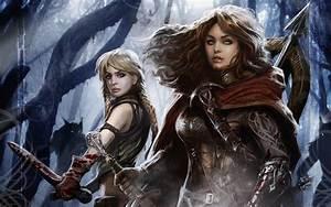Women monsters forest blood demons fantasy art werewolf ...