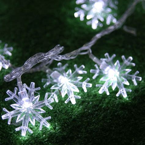 2m 20 led string lights battery operated snowflake fairy