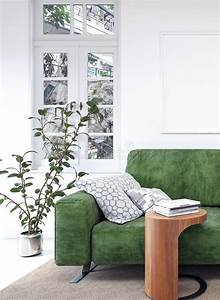 Modern, White, Interior, With, Green, Sofa, Stock, Illustration