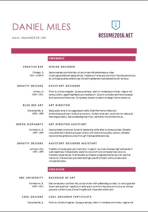 Most Recent Resume Format 2016 by Resume Format 2017 20 Free Word Templates