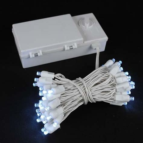 50 led battery operated lights white on
