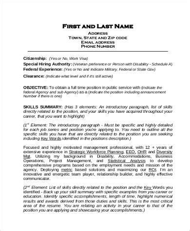 federal resume   samples  word