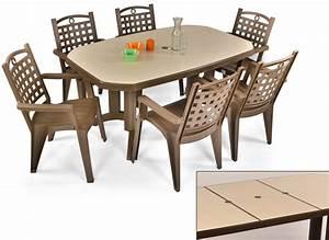 Salon De Jardin Table : salon de jardin grosfillex vega bronze 1 table 220x100cm ~ Teatrodelosmanantiales.com Idées de Décoration