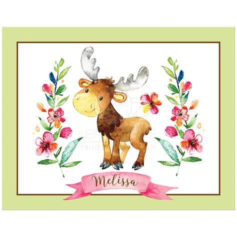11 quot x14 quot personalized woodland watercolor moose print