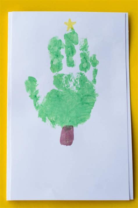 handprint christmas tree card glue sticks and gumdrops