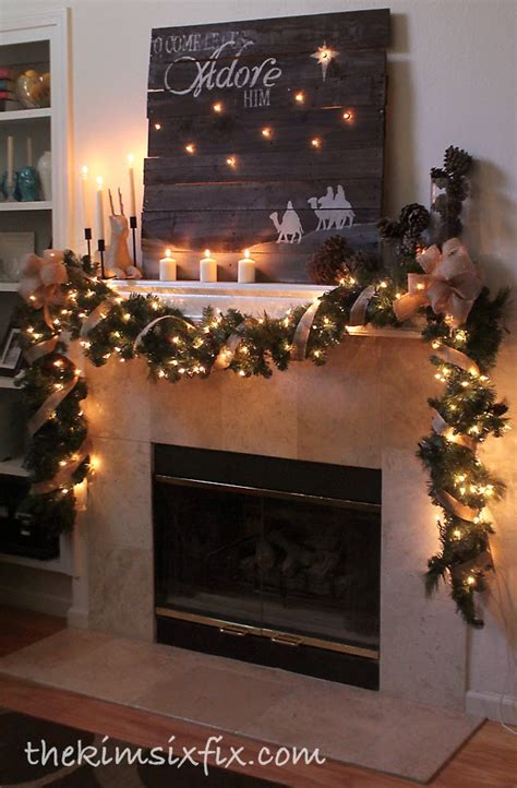 mantle garland with lights quot o come let us adore him quot rustic christmas mantle the