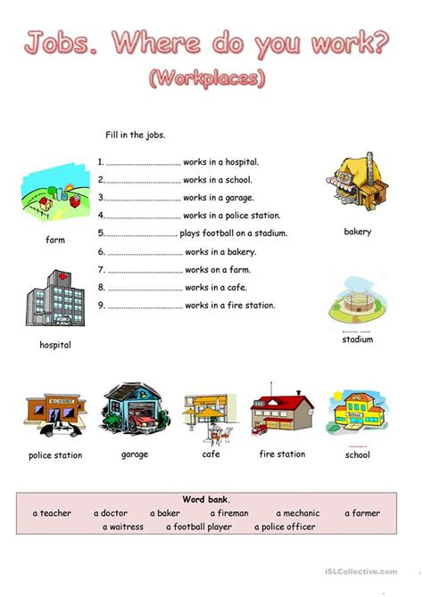 jobs    work worksheet  esl printable