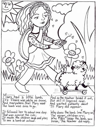 Nursery Coloring Rhymes Mary Pages Lamb Had