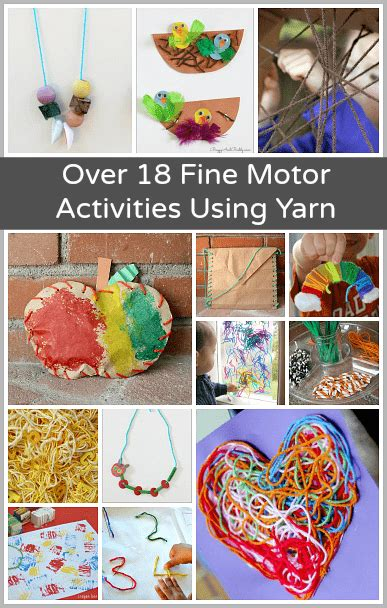 18 motor activities for using yarn buggy and 854 | fine motor header