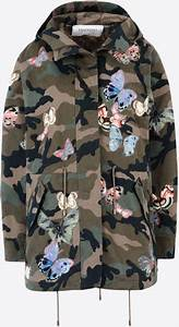 Camo Designer Handbags Valentino Camouflage Parka Embroidered Butterflies In