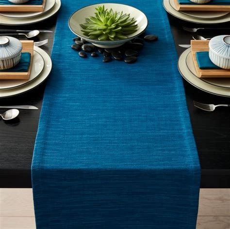 "Grasscloth 90"" Corsair Blue Table Runner   Crate and Barrel"