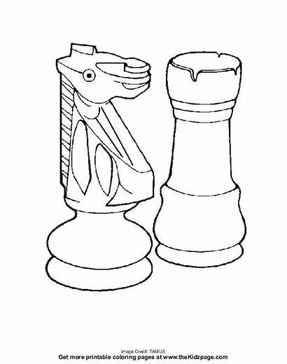 Pages Chess Pieces Colouring Coloring Printable Sheets