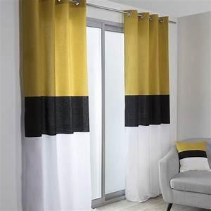 Rideau Blanc Et Doré : rideau tamisant yellow noir blanc et jaune x cm leroy merlin ~ Teatrodelosmanantiales.com Idées de Décoration