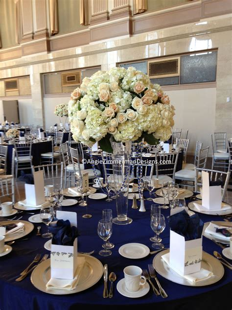 Navy Blue And White Wedding Table Decorations