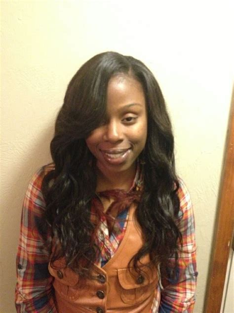 Sew Ins Weave Hairstyles by Wavy Sew Ins Side Part With Styles