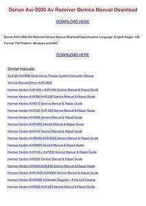 Denon Avr 2800 Av Receiver Service Manual Dow By