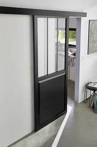 Porte Coulissante Atelier Castorama : porte coulissante atelier noire 83cm syst me en applique ~ Melissatoandfro.com Idées de Décoration