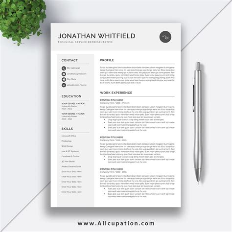 1 Page Resume Template by Creative Resume Template Modern Cv Template Word Cover