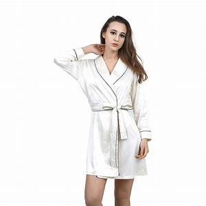 buy high grade satin chiffon robe solid spring summer sexy With robe de chambre longue