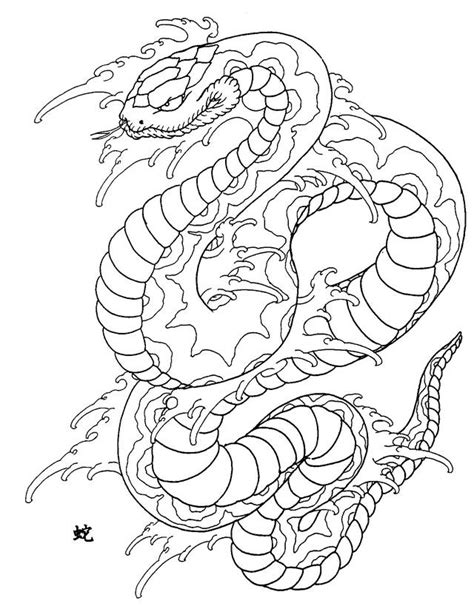japanese snake drawing  getdrawingscom