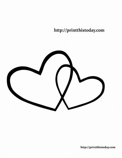 Hearts Coloring Printable Pages Clipart Overlapping Themed