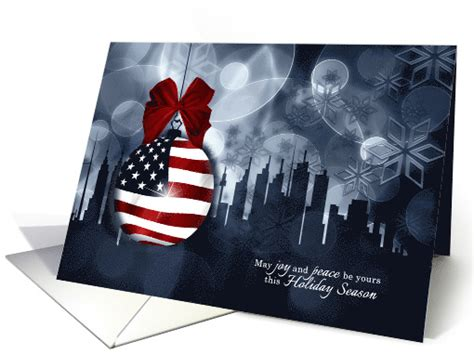 patriotic holiday wishes american flag ornament  skyline card