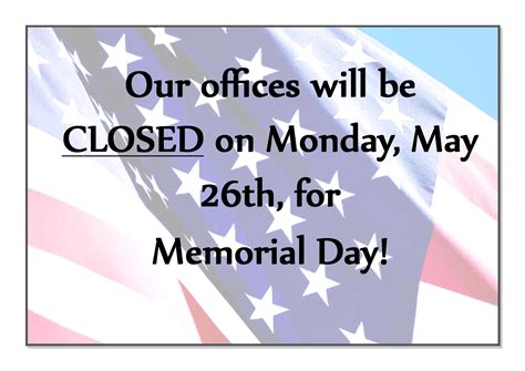 memorial day closed sign template memorial day office hours ethan allen workforce solutions