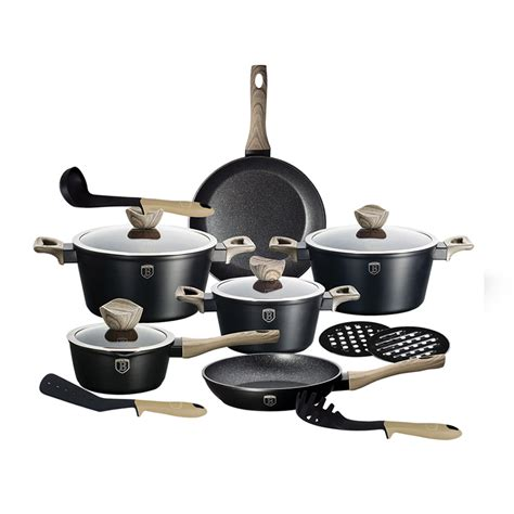 berlinger haus bh cookware 1536 coating marble maple ebony piece line