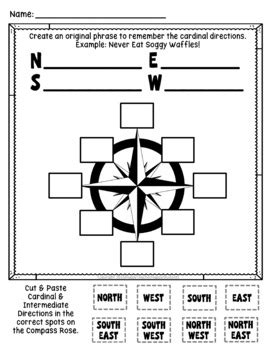 compass rose worksheet quiz posters cardinal intermediate directions