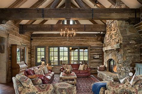 roger wade studio interior design photography  rustic handcrafted log home living room